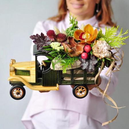 Цветочный Ретро-Автомобиль