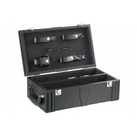 Подарочный чемодан д/вина (5частей) цвет черный  (37x21x13cm)